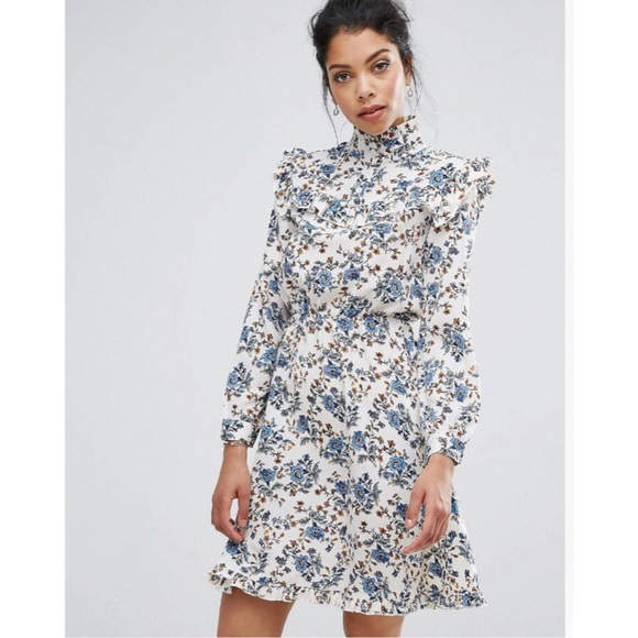 15af7432cee92 ASOS Dresses & Skirts - ASOS Boohoo Floral High Neck Dress with Ruffles